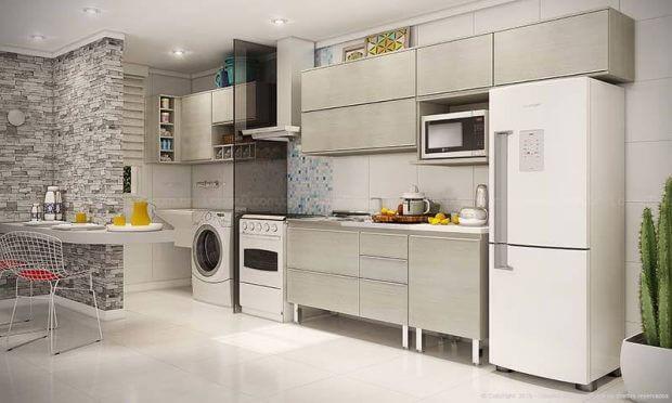 Cozinhas modernas cozinha e lavanderia integrada