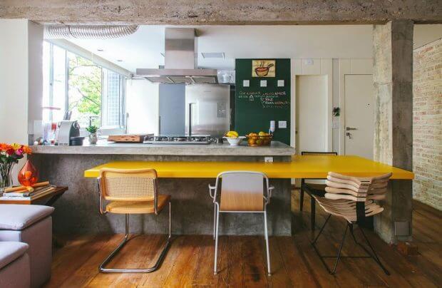 Cozinhas modernas mesa de jantar integrada com bancada