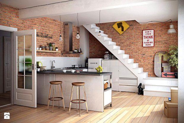 Cozinhas modernas piso em dois ambientes