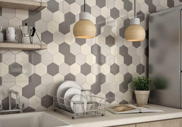 Cozinhas modernas revestimento hexagonal